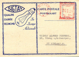 1957 Kaart SIGTAY Lampe Nationale - Lampes & Entreprises Electriques Ninove - Mooie Rode Stempel Ninove *** - 00120 U189 - ...-1959