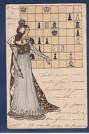 CPA échecs Chess Femme Women Art Nouveau Circulé - Chess
