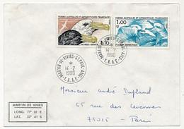 TAAF - Env. Affr 1,00 Fulmar Atlantique + 1,70 Petrels Géants - Martin De Vivies St Paul Ams - 14/2/1990 - Covers & Documents