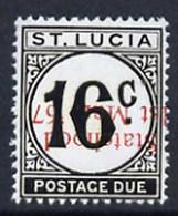 St Lucia 1967 Postage Due 16c 'Statehood' Opt In Red (inverted) Unmounted Mint - Kriegsausgaben