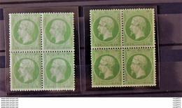 09 - 21 // France - 5c Vert - N°20 + 20A* Et **  En Bloc De 4 - Voir Commentaires - Cote : 3900 Euros - Signé Roumet - 1862 Napoleon III