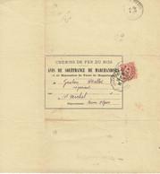 199 Semeuse Lignée Rouge Sur Avis De Souffrance De Marchandises Chemins De Fer Du Midi Ambulant Villefranche à Perpignan - Cartas
