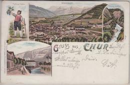 Schweiz - Chur Graubünden Farbige Mehrbild-Litho Gelaufen 1898 - Unclassified