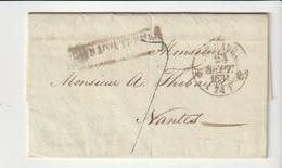 """Lettre Port Louis, Cachet Peu Lisible """" Pays D'Outremer Par Le Havre """", Oblitération Type 12 Le Havre, Taxe 7 Bleu,1831 - 1801-1848: Vorläufer XIX"""