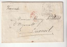 """Lettre Rosario De Santa Fé /Argentine , Cachet Rouge """"Outremer - Dunkerque"""", Pour Luxeuil, 1887 - 1877-1920: Semi-Moderne"""