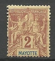 MAYOTTE  N° 2 NEUF* FORTE  CHARNIERE  / MH - Neufs