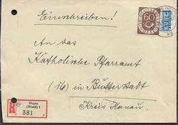 1953 Deutschland Germany Einschreibebrief  31.5.54-17 Von Hagen Nach Hanau - Lettere