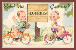 Cp Système 10 Vues - Leporello - Salut Bébé, ça Roule ? - LOURDES - Bicyclettes - Multivues - Edit. CAP - Mechanical