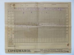 568 - Feuille De Température Et D'observation Patient Hôpital - Pub Cipromarol - Chemist's