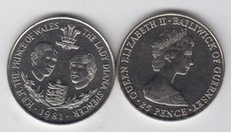 Guernsey 1981 Royal Wedding Princess Diana Prince Charles - Crown Coin - Guernsey