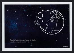 """2021 ITALIA """"MOSTRA MAIL - ART / EGGS ON THE MOON / DANTE"""" CARTOLINA 16.08.2021 (ANNULLO ACCEGLIO) - Other"""