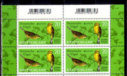2019 Germany Europa CEPT National Birds Blocks Of 4 MNH** MiNr. 3463 Goldammer Yellowhammer - Unused Stamps