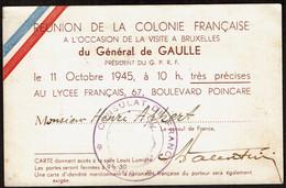 Réunion Colonie Française - Visite Général De Gaulle à Bruxelles - 11/10/1945 - Lycée Français 67 Boul. Poincaré - Historische Documenten