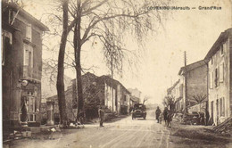COURNIOU Herault Grand' Rue Animée Voiture D'epoque Pompe à Essence RV - Altri Comuni