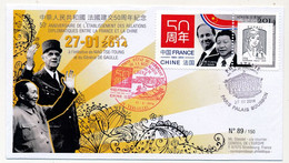 FRANCE - Env. Porte Timbre ECOPLI Ciappa Illustré FRANCE CHINE (MM Xi Jinping  Et François Hollande) Paris 27/3/2014 - 2013-... Marianne (Ciappa-Kawena)