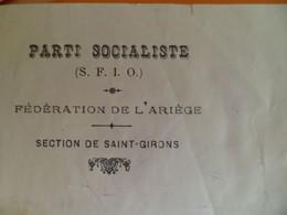 Lettre 1930 Parti Socialiste SFIO Fédération Ariège Section SAINT GIRONS - Pierre MAZAUD Candidat Député Politique - Historische Dokumente