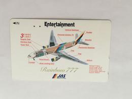 (1 A 34) Collector Telephone Card - JAS - Rainbow 777 (Japan ) - Aerei