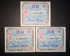 Japan 1945: Military Currency 3 X 10 Sen Consecutive Serial Numbers - Japan