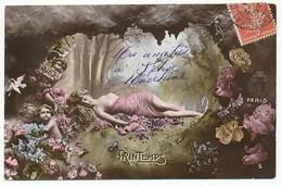 CPA 9 X 14 Les Saisons PRINTEMPS Jeune Femme Couchée Lit De Fleur Caverne Grotte Bébé Roses Oiseau - Other