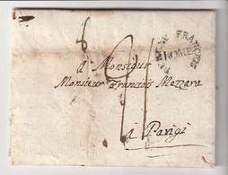 """Lettre Avec Marque """" Bureau Français à Rome""""  Pour Parigi / Paris, Taxe, 1808 - 1801-1848: Precursors XIX"""