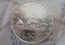 ITALIA 500 LIRE ARGENTO 1990 CARAVELLE FDC SIGILLATA DA SET ZECCA - 500 Lire