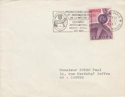 MONACO SEUL SUR LETTRE POUR LA FRANCE 1968 - Postmarks