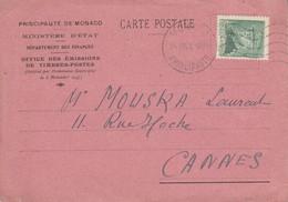 MONACO SEUL SUR CARTE POUR LA FRANCE 1943 - Postmarks