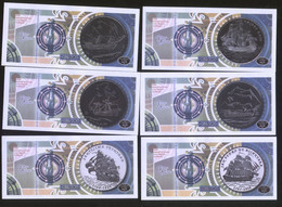 Cuban Colonial Ships 2013 Set Of 6 Notes Featuring Old Ships UNC - Cuba