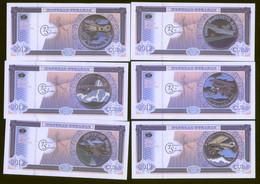 Aeronautics 2012 Set Of 6 Colourful Notes Featuring Planes On Coins UNC - Cuba