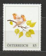 Österreich Personalisierte BM Vogelaquarell Zwei Vögelchen Mit Zweig ** Postfrisch - Private Stamps