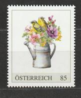 Österreich Personalisierte BM Vogelaquarell Zwei Vögel Mit Blumen In Alter Gießkanne ** Postfrisch - Private Stamps