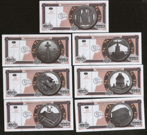 Seven Wonders Of The World 2011 Set Of 7 Cuban Coin From The Same Series UNC - Cuba