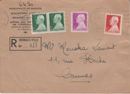 MONACO AFFRANCHISSEMENT COMPOSE SUR LETTRE RECOMMANDEE POUR LA FRANCE 1947 - Marcophilie