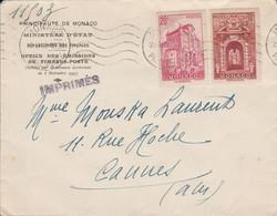 MONACO AFFRANCHISSEMENT COMPOSE SUR LETTRE POUR LA FRANCE 1946 - Marcophilie