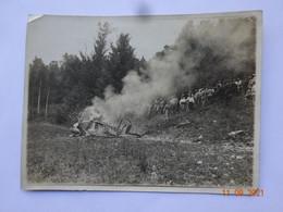 PHOTO PHOTOGRAPHIE AVION SOPWITH EN FEU MONT SAINT MARTIN MEURTHE ET MOSELLE  10 JUIN 1917 - War, Military