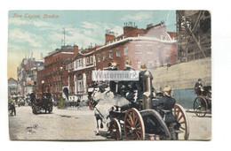 Horse-drawn Fire Engine And Street Scene, London - Old Postcard - Pompieri