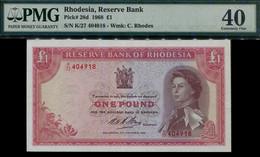 Rhodesia Queen Elizabeth II, £1 Pound Banknote, 1968 #p28d, PMG 40. EF - Rhodesia