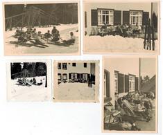 5x Orig. Foto 1936 Zuflucht Bei Freudenstadt, Jungen, Pimpfe HJ ? Rast, Ski Fahren - 1939-45