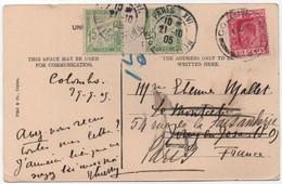 RR Millésime 4 TAXE 15c Vert Banderole Duval Yvert TT 30 Carte CEYLAN Oblitération PARIS 1905 Recto Divisé Non Admis SUP - 1859-1955 Covers & Documents
