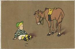 Illustrateur Cheval Et Jeune Jockey à Terre RV - Chevaux
