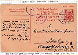 POLAND 1920 Postcard Fi Cp 36 Used Graudenz Censored - Ganzsachen