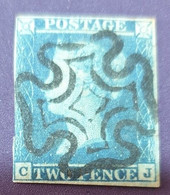 """1841 Queen Victoria, 1819-1901 - White Line Below """"POSTAGE"""" & Above """"TWO PENCE"""" - Used Stamps"""
