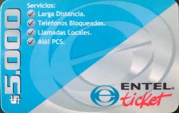 CHILI  -  Prepaid  -  ENTEL  - Ticket  -  $ 5.000 - Cile
