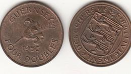Guernsey Coin 4 Doubles 1956 - Guernsey