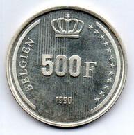 BELGIUM, 500 Francs, Silver, Year 1990, KM #180, BELGIEN - 11. 500 Frank