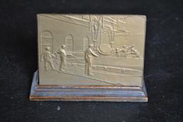Médaille + Présentoir Société Des GLACES D'AUVELAIS 1875 - 1925 Graveur C. DEVREESE Plaque Commémorative Glaceries RARE - Professionali / Di Società