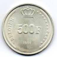 BELGIUM, 500 Francs, Silver, Year 1991, KM #198, BELGIEN - 11. 500 Frank