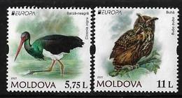 """MOLDAVIA /MOLDOVA /MOLDAWIEN  -EUROPA 2021 -ENDANGERED NATIONAL WILDLIFE""""- SERIE De 2 V. - N - 2021"""