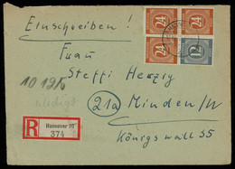 TREASURE HUNT [01665] Allied Occupation 1946 Reg. Cover From Hannover To Minden W/20 Pf Orange Pair+single+ 12 Pf Slate - Zona AAS