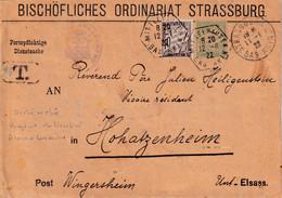 SIMPLE TAXE SUR DEVANT - ARCHEVECHE DE STRASBOURG - 1922 - Lettres Taxées